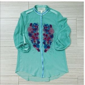 Anthropologie Floral Teal Button Down Top